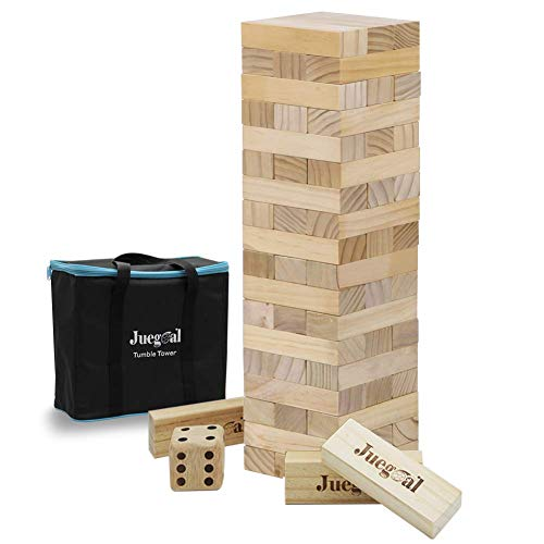 Juegoal 54 Pieces Giant Tumble Tower Blocks Game Giant Toppling Tower Wood Stacking Game with 1 Dice Set Canvas Bag for Adult, Kids, Family