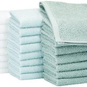 AmazonBasics Washcloth Face Towels, Pack of 24, Multi-Color: Seafoam Green, Ice Blue, White